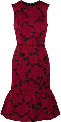 Oscar de la Renta - Belted Jacquard Dress - Claret