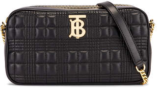Burberry Small Leather Quilted Check Elongated Camera Bag in Black | FWRD