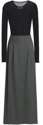 MM6 MAISON MARGIELA Mesh-Paneled Draped Wool-Twill Maxi Dress