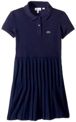 Lacoste Kids Short Sleeve Petit Pique Pleated Dress Girl's Dress
