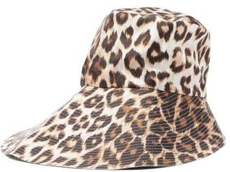 La Prestic Ouiston Leopard Print Silk Twill Bucket Hat - Womens - Brown