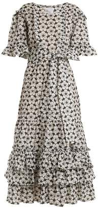 Lisa Marie Fernandez Ruffle Trimmed Floral Embroidered Cotton Dress - Womens - Black White