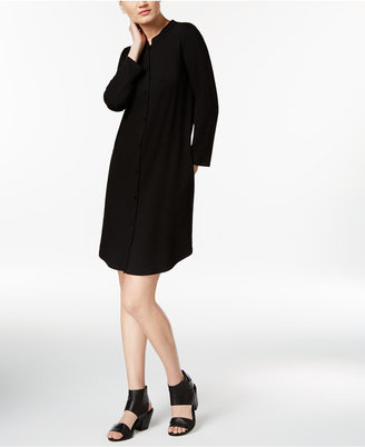 Eileen Fisher Jersey Mandarin-Collar Shift Dress $188 thestylecure.com