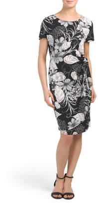Textured Puff Print Faux Sarong Dress