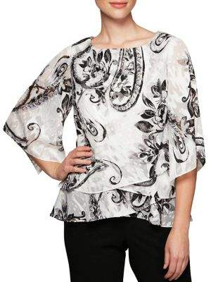 Alex Evenings Plus Printed Three-Quarter Sleeve Blouse