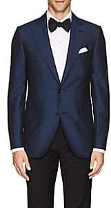 Caruso Men's Slub Silk Two-Button Sportcoat-Navy