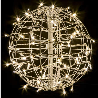 Crab Pot Christmas Trees Fold Flat Sphere with 75 LED Lights