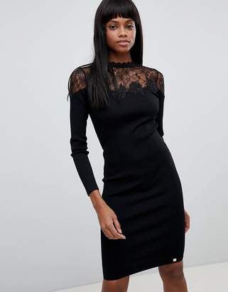 Lipsy Lace Detail Long Sleeved Knitted Midi Dress