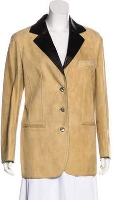 Chanel Suede Notch-Lapel Coat
