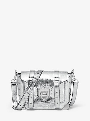 Michael Kors Manhattan Small Crackled Metallic Leather Crossbody Bag