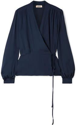 L'Agence Cara Silk Wrap Blouse - Navy
