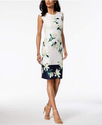 Vince Camuto Floral-Printed Border Sheath Dress