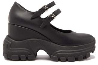 Miu Miu Exaggerated Sole Mary Jane Leather Wedges - Womens - Black