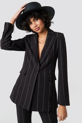Na Kd Classic Striped Long Blazer Black