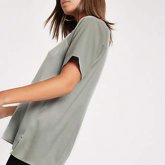 River Island Light green sheer short sleeve blouse