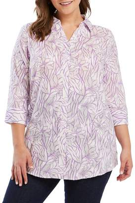 Foxcroft Faith Floral Jacquard Shirt (Plus Size)