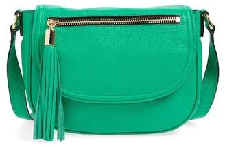 Milly Astor Tasseled Pebbled Leather Saddle Crossbody