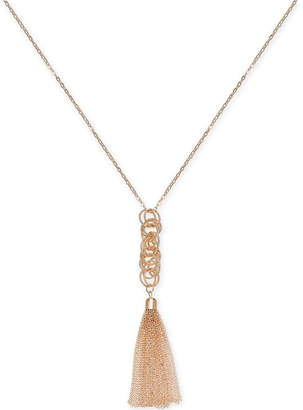 "INC International Concepts I.N.C. Rose Gold-Tone Multi-Link & Chain Tassel Pendant Necklace, 28"" + 3"" extender, Created for Macy's"