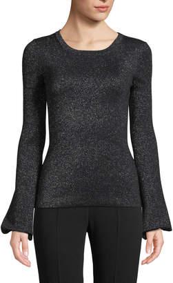 Michael Kors Crewneck Peasant-Sleeve Metallic-Knit Sweater