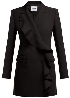 MSGM Ruffled Crepe Blazer Mini Dress - Womens - Black