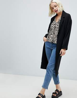 Monki lightweight tailored coat in black