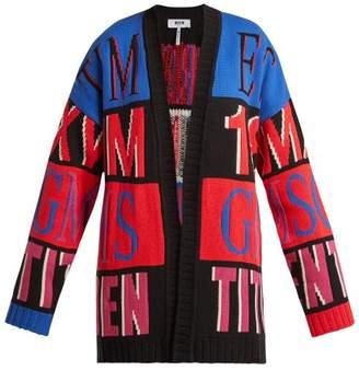 Msgm - Oversized Logo Intarsia Cardigan - Womens - Pink Multi