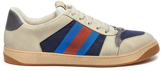 Gucci 'Screener' Web stripe distressed leather sneakers