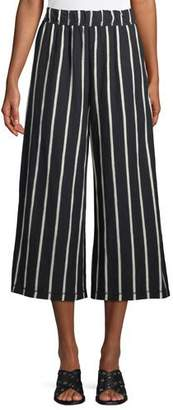 Eileen Fisher Slubby Striped Wide-Leg Capri Pants