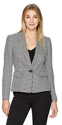 Kasper Women's Classic Houndstooth 1 Button Notch Lapel Jacket