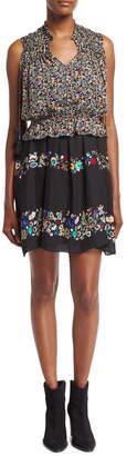 Derek Lam 10 Crosby 2-in-1 Floral Chiffon Mini Dress, Black