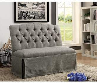 Furniture of America Dehlia Gray Tufted Love Seat Bench