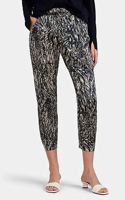 Zero Maria Cornejo Women's Gabi Hair-Print Stretch-Silk Pants - Ink Jet, greige