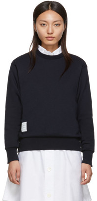 Thom Browne Navy Classic Loopback Crewneck Sweatshirt