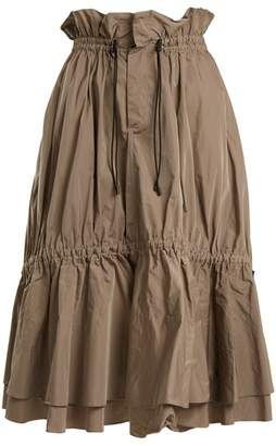 Jonathan Simkhai - Ruched Tiered Taffeta Midi Skirt - Womens - Tan
