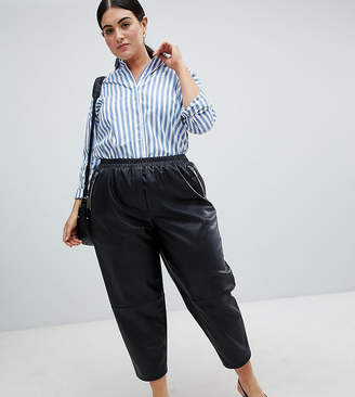 a88c14e8883 Asos DESIGN Curve tapered leather look trousers
