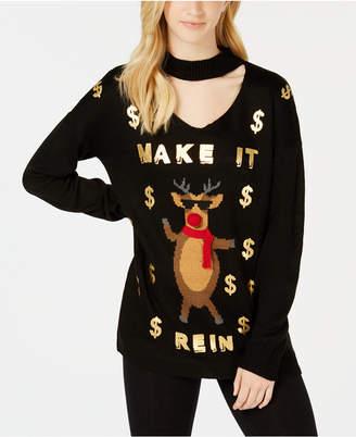 Ultra Flirt by Ikeddi Juniors' Make It Rein Choker-Neck Sweater