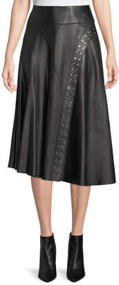 Derek Lam A-Line Leather Skirt w/ Grommet Detail