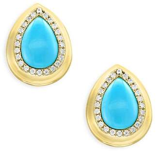 Bloomingdale's Turquoise and Diamond Halo Teardrop Stud Earrings in 14K Yellow Gold - 100% Exclusive