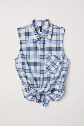 H&M Sleeveless Tie-front Blouse - Blue
