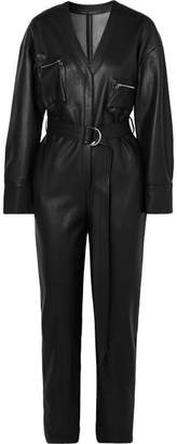 Sally LaPointe Belted Faux Leather Jumpsuit - Black