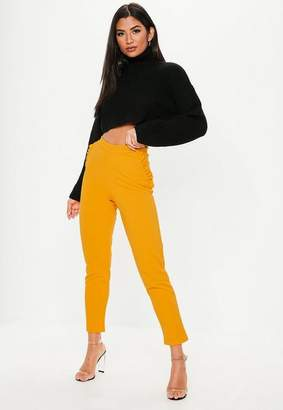 Missguided Mustard Frill Detail Skinny Trousers