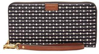 Fossil Emma Rfid Large Zip Clutch Wallet Black Stripe