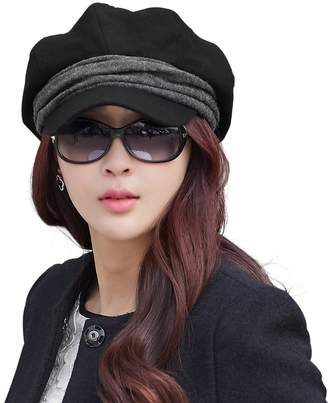 Siggi Wool Newsboy Cabbie Beret Cap for Women Beret Visor Bill Hat Winter Black