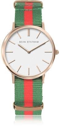 Sean Statham Rose Goldtone Stainless Steel Unisex Quartz Watch w/Green and Red Striped Canvas Band