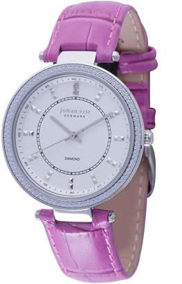 Johan Eric Ballrup Quartz Diamond Pink Leather Strap Watch