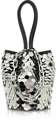 Alexander Wang Roxy Mini Black Smooth Leather Bucket Bag w/Shiny Paillettes