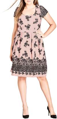 City Chic Flocked Dress