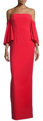 Milly Off-the-Shoulder Ponte Gown, Tomato $675 thestylecure.com