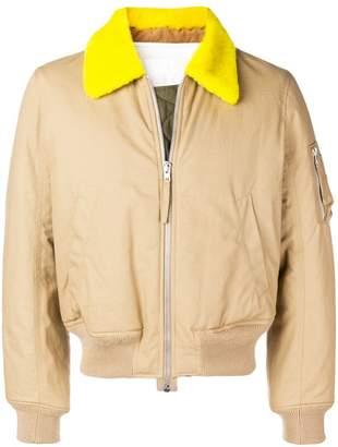 Helmut Lang contrasting collar bomber jacket