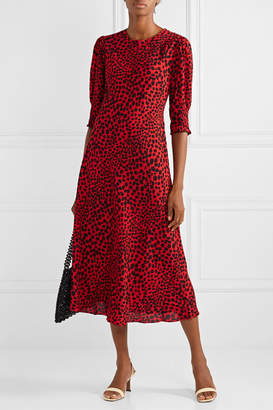 Rixo Jess Animal-print Crepe Midi Dress - Red